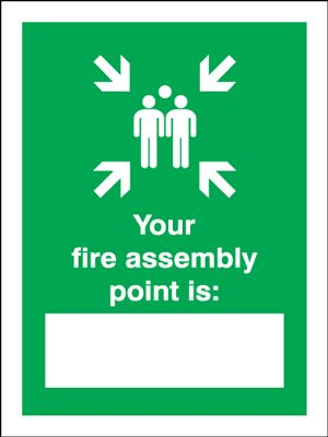 your fire assembly point is safety sign portrait. Black Bedroom Furniture Sets. Home Design Ideas