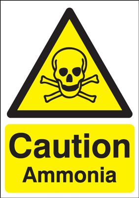 Caution Ammonia Amp Symbol Hazard Safety Sign Portrait