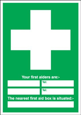 First Aiders Are First Aid Box Situated Safety Sign