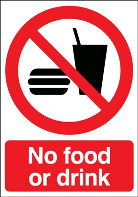 No Food Or Drink Prohibition Safety Sign Portrait