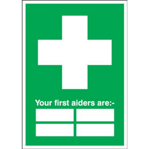 """Your First Aiders Are """" """" - Safety Sign"""