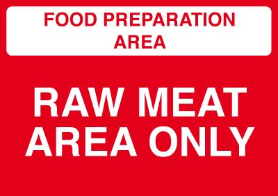 Raw Meat Area Only Sign