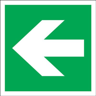 Arrow Fire Exit Safety Sign - Square