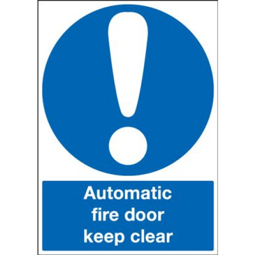 Automatic Fire Door Keep Clear Mandatory Safety Sign