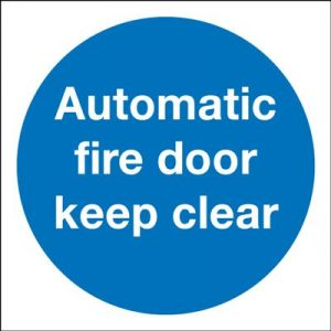 Automatic Fire Door Keep Clear Mandatory Safety Sign - Portrait