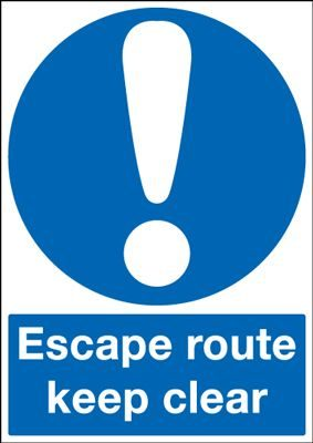 Escape Route Keep Clear Mandatory Safety Sign - Portrait