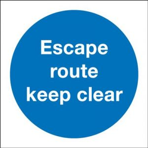 Escape Route Keep Clear Mandatory Safety Sign