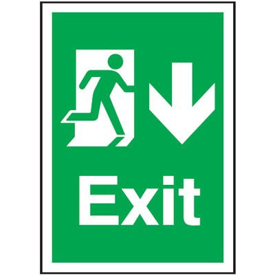 Arrow Down Fire Exit Safety Sign - Portrait
