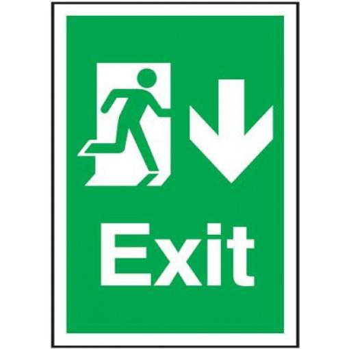 Arrow Down Fire Exit Safety Sign - Portrait