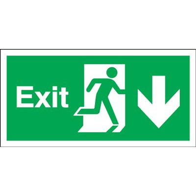 150x450mm Exit (Symbol) Arrow Down Rigid