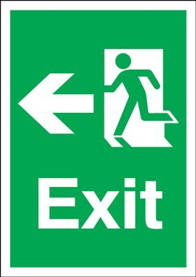 Arrow Left Fire Exit Safety Sign - Portrait