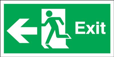 150x450mm Exit (Symbol) Arrow Left Rigid