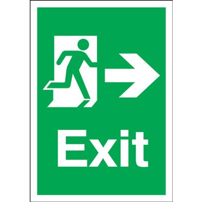 Arrow Right Fire Exit Safety Sign - Portrait