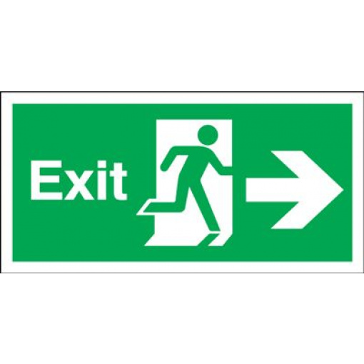 150x450mm Exit (Symbol) Arrow Right Rigid