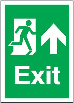 Arrow Up Fire Exit Safety Sign - Portrait