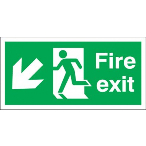 Arrow Down Left & Running Man Fire Exit Safety Sign - Landscape