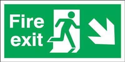 Arrow Down Right & Running Man Fire Exit Safety Sign - Landscape