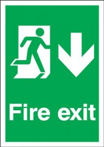 Arrow Down & Running Man Fire Exit Safety Sign - Portrait