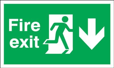 Arrow Down & Running Man Fire Exit Safety Sign - Landscape