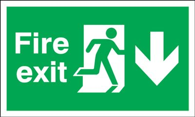 150x450mm Fire Exit (Symbol) Arrow Down