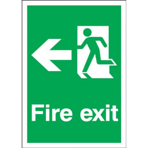 Arrow Left & Running Man Fire Exit Safety Sign - Portrait