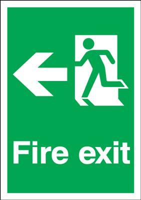 Arrow Left & Running Man Fire Exit Safety Sign - Portrait