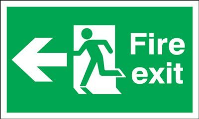 Arrow Left & Running Man Fire Exit Safety Sign - Landscape