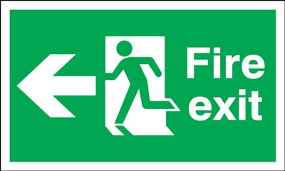 150x450mm Fire Exit (Symbol) Arrow Left
