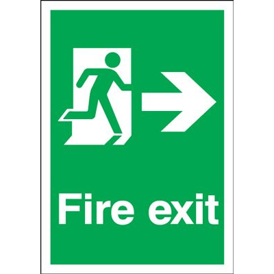 Arrow Right & Running Man Fire Exit Safety Sign - Portrait