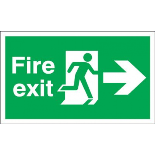 Arrow Right & Running Man Fire Exit Safety Sign - Landscape