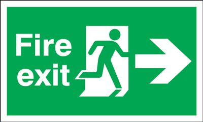 150x450mm Fire Exit (Symbol) Arrow Right