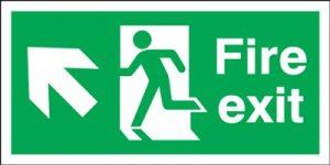 Arrow Up Left & Running Man Fire Exit Safety Sign - Landscape