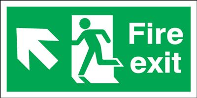 Arrow Up Left & Running Man Fire Exit Safety Sign - Landscape
