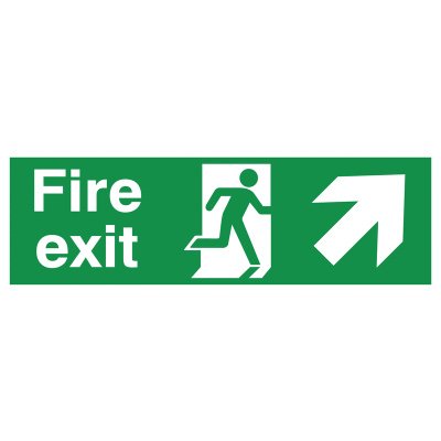 Arrow Up Right & Running Man Fire Exit Safety Sign - Landscape