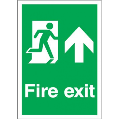 Arrow Up & Running Man Fire Exit Safety Sign - Portrait