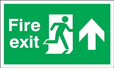 Arrow Up & Running Man Fire Exit Safety Sign - Landscape