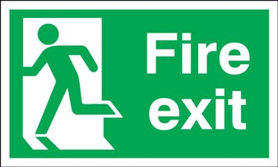 Running Man Left Fire Exit Safety Sign - Landscape