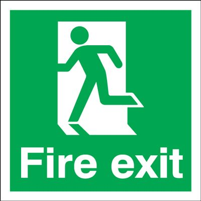 Running Man Left Fire Exit Safety Sign