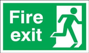 Running Man Right Fire Exit Safety Sign - Landscape