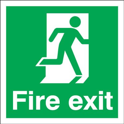 Running Man Right Fire Exit Safety Sign