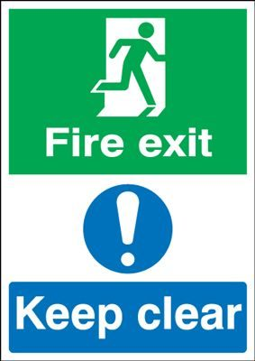 Fire Exit Keep Clear Safety Sign - Portrait