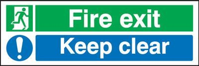 Fire Exit Keep Clear Safety Sign - Landscape