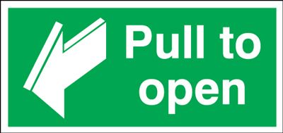 Pull To Open Safety Sign - Landscape
