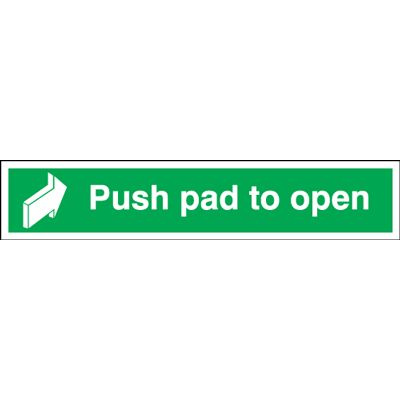 Push Pad To Open Safety Sign - Landscape