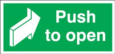 Push To Open Safety Sign - Landscape