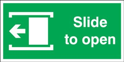 Slide Left To Open Safety Sign - Landscape