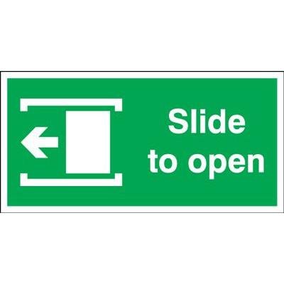Slide Left To Open Safety Sign - Landscape