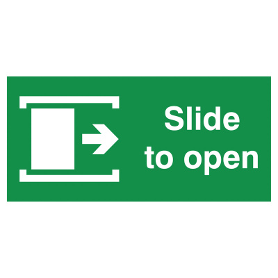 Slide Right To Open Safety Sign - Landscape