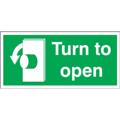 Anti Clockwise Turn To Open Safety Sign - Landscape