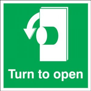 Anti Clockwise Turn To Open Safety Sign
